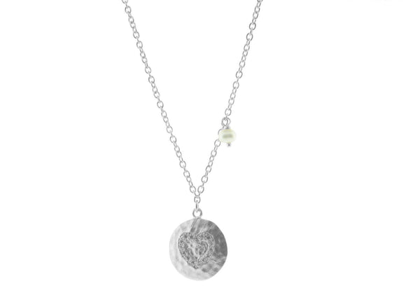 Hammered CZ Heart Pendant with Dangling Pearl Necklace in Gunmetal Silver, 16