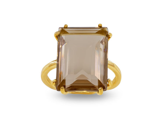 Emerald Cut Citrine Crystal Ring in Sterling Silver - Presidential Brand (R)