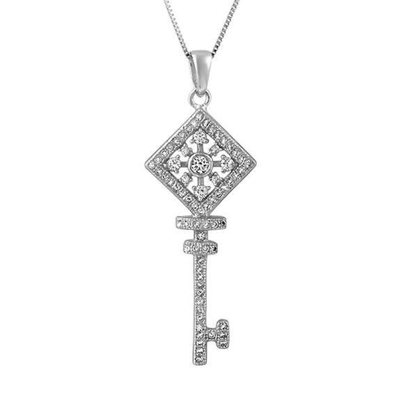 Square Wheel Key CZ .925 Sterling Silver Pendant