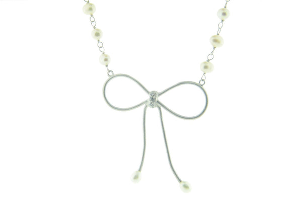 Bow Pendant Mini Pearl Necklace and Cz Sterling Silver - Presidential Brand (R)