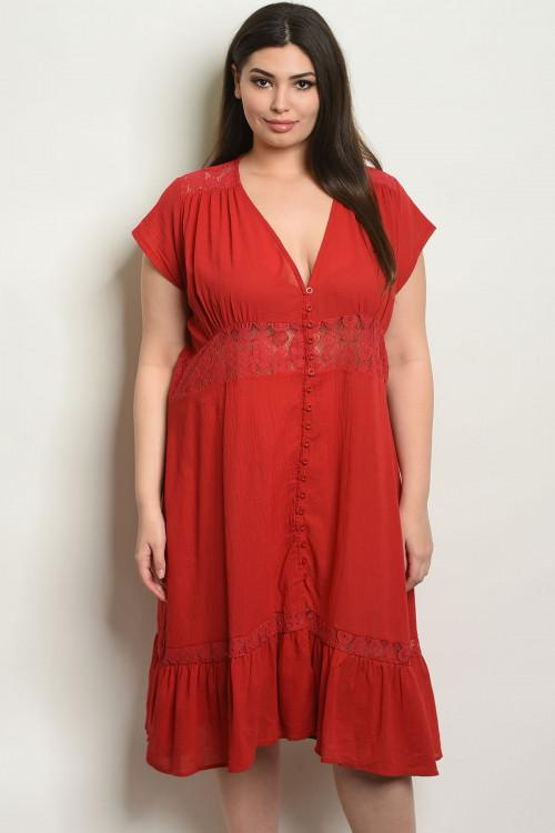 Women's Plus Size Red Short Sleeve Ruffled Midi Tunic Dress(6 pcs/ Bundle) - Presidential Brand (R)
