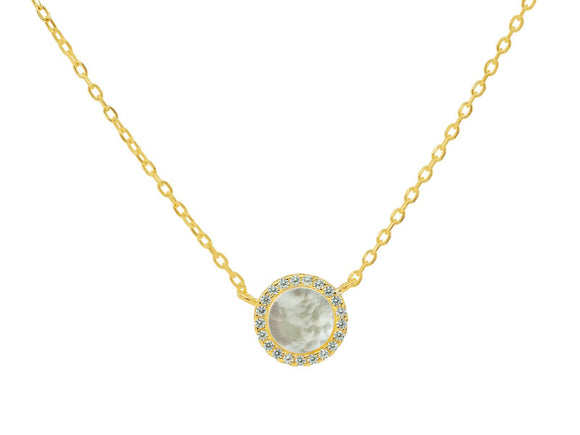 Circle Mother of Pearl Necklace in Gold Plated Sterling Silver - Presidential Brand (R)