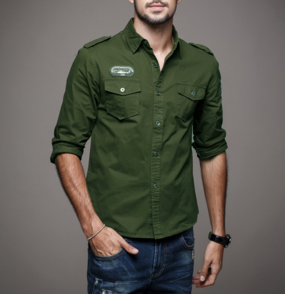 Mens Army Style Long Sleeve Shirt - Presidential Brand (R)