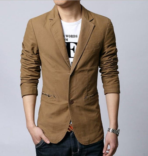 Mens Casual Canvas Blazer