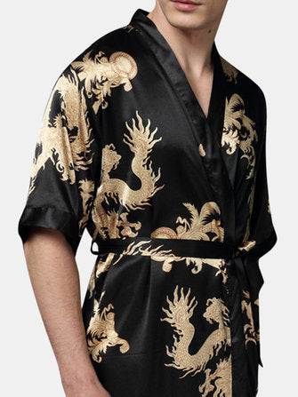 Mens Plus Size Retro Luxury Stain Japanese Kimono Chinese Dragon Ice Silk Sleepwear Robes - Presidential Brand (R)