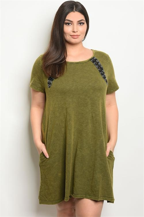 Women's Plus Size Olive Washed Short Sleeve Round Neckline Tunic Dress(6 pcs/ Bundle)
