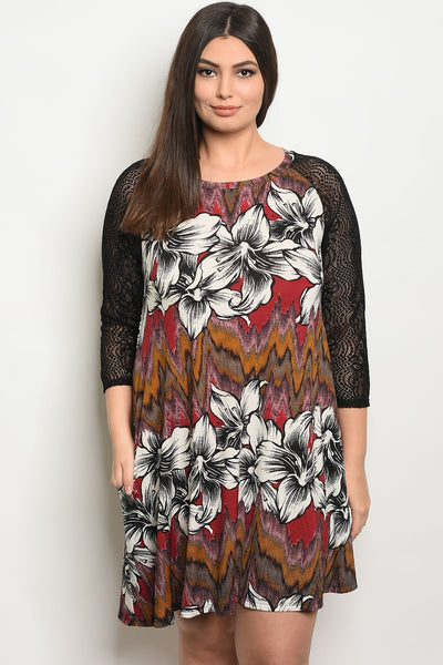 Women's Plus Size Burgundy Floral 3/4 Sleeve Scoop Neck Printed Tunic Dress(6 pcs/ Bundle)