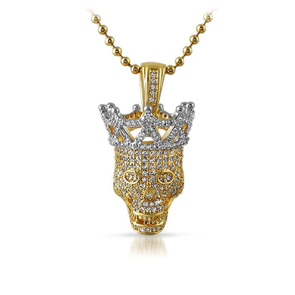 3D Hip Hop Skull CZ Pendant Gold with Silver Crown