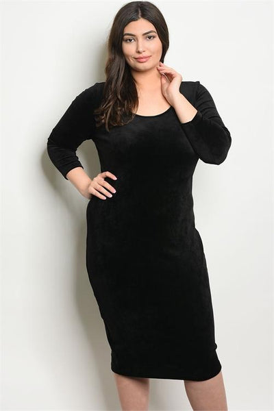 Women's Plus Size Black 3/4 Sleeve Scoop Neck Velvet Bodycon Dress(6 pcs/ Bundle)