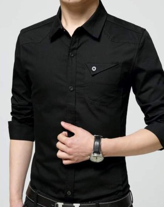 Mens Flip Pocket Button Front Long Sleeve Shirt in Black - Presidential Brand (R)