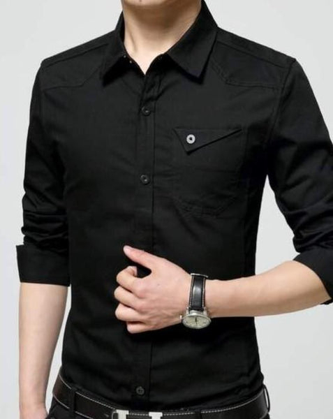 Mens Flip Pocket Button Front Long Sleeve Shirt in Black