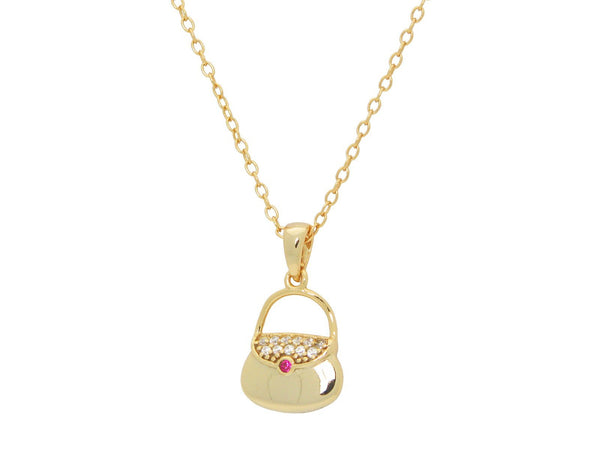 "Teen Red Cz Purse Pendant Necklace in Gold Plated Sterling Silver, 16"" + 2"""