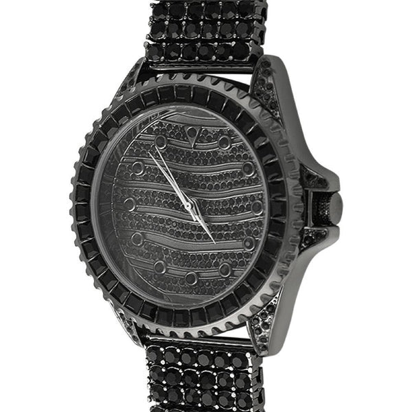 Wavy Custom Black Hip Hop Watch  6 Row Band