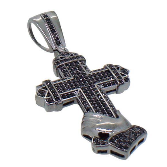 Small Black Praying Hands Cross Pendant CZ - Presidential Brand (R)
