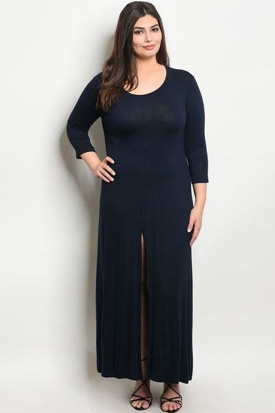Women's Plus Size Dark Navy 3/4 Sleeve Scoop Neck Front Slit Jersey Dress(6 pcs/ Bundle)