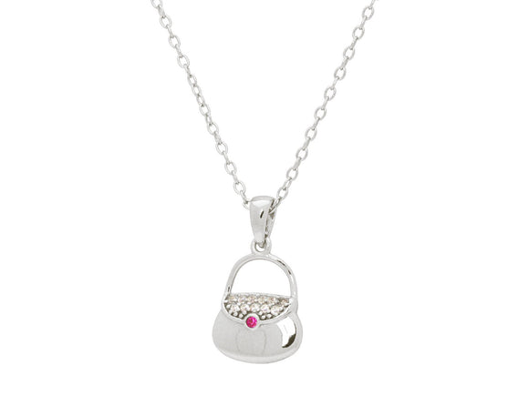 Teen Red Cz Purse Pendant Necklace in Sterling Silver, 16