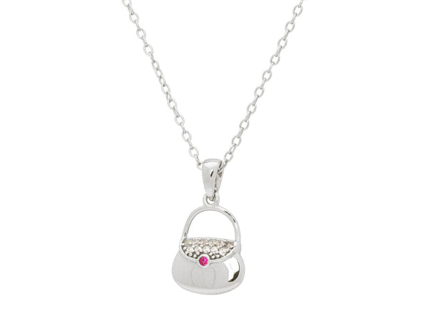 "Teen Red Cz Purse Pendant Necklace in Sterling Silver, 16"" + 2"""