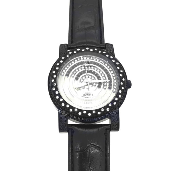 Black Black White Floating Dial Iced Out Watch