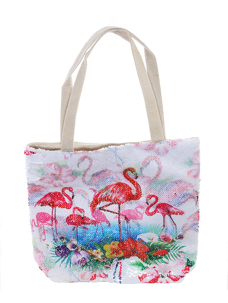 FLAMINGO FLOWER PRINT SEQUIN BEACH TOTE