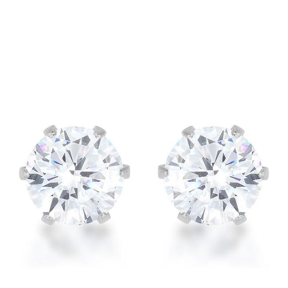 Reign 3.4ct CZ Rhodium Stainless Steel Stud Earrings - Presidential Brand (R)