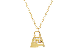 "Teen Sparkling Cz Purse Pendant Necklace in Gold Plated Sterling Silver, 16"" + 2"" - Presidential Brand (R)"
