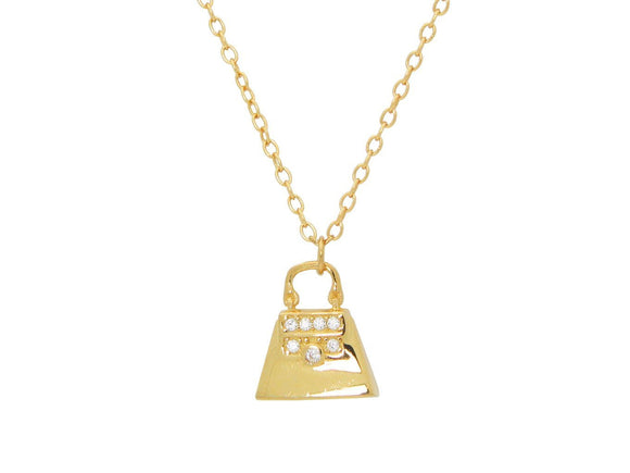 Teen Sparkling Cz Purse Pendant Necklace in Gold Plated Sterling Silver, 16