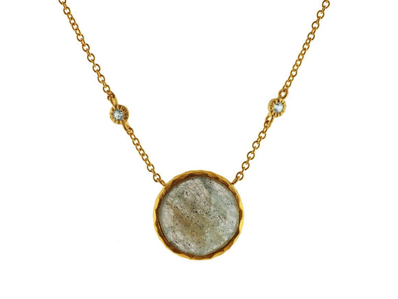 Rounded Labradorite Stone Necklace - Presidential Brand (R)