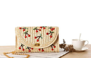 Cherry Straw Bag with Chain - Presidential Brand (R)