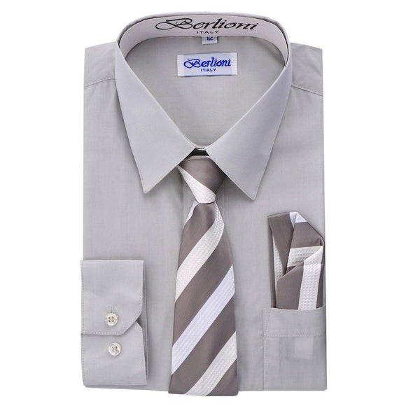 Boy's Dress Shirt/Necktie/Hanky N705-Silver - Presidential Brand (R)
