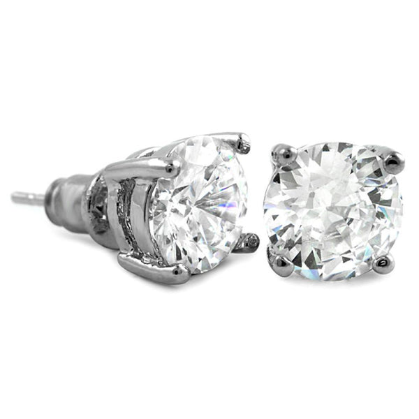 White CZ Diamond Round Stud Earrings Rhodium (DOZEN PAIRS)