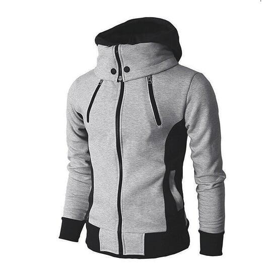 Mens High Collar Windproof Hoodie Light Gray