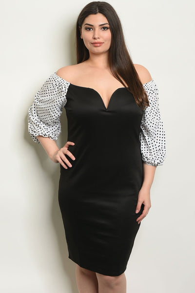 Women's Plus Size Black White Short Puff Sleeve Sweetheart Neckline Bodycon Dress(6 pcs/ Bundle)