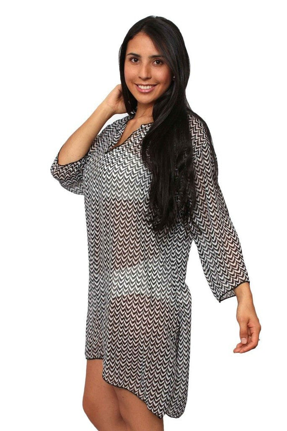 Plus Size Beach Dress Chiffon Long Sleeve Swimwear Cover-up Made in the USA - Presidential Brand (R)