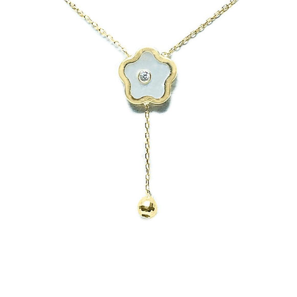 BecKids 14k Yellow Gold Mother of Pearl Flower Dangler Necklace - Presidential Brand (R)