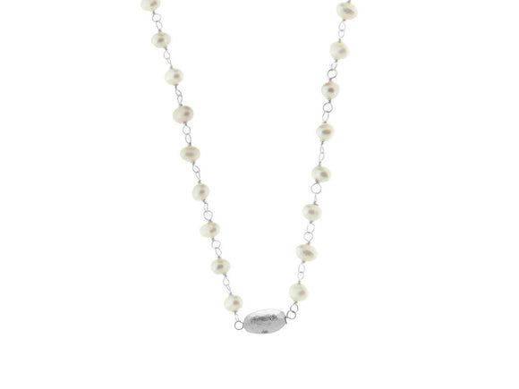 Rhodium Pl Silver Fresh Water Pearl & Hammered CZ Bead Necklace, 16