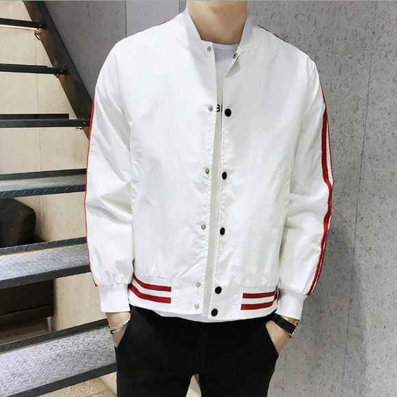 Mens Striped Baseball Jacket - Presidential Brand (R)