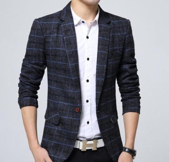 Mens Navy Plaid Blazer - Presidential Brand (R)