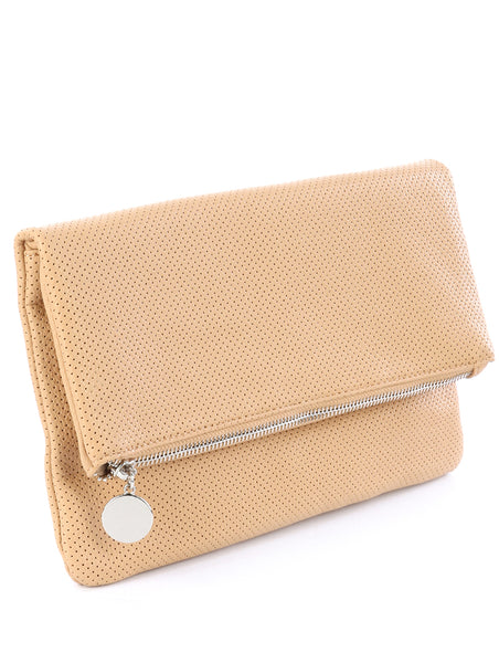 FAUX LEATHER FOLDOVER CLUTCH
