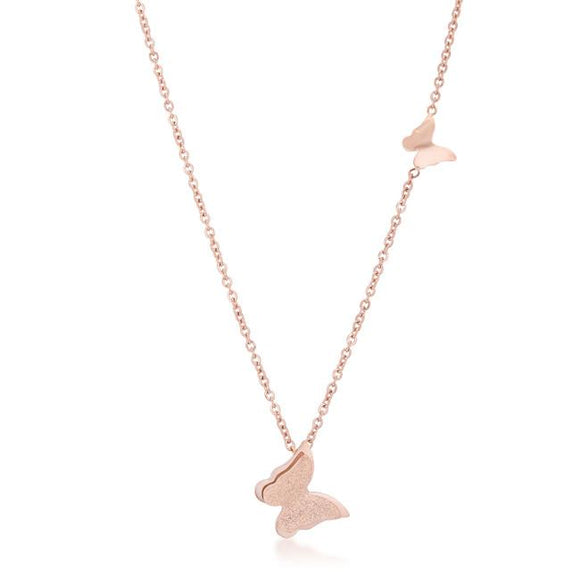 Beatrice Rose Gold Stainless Steel Delicate Butterfly Necklace - Presidential Brand (R)