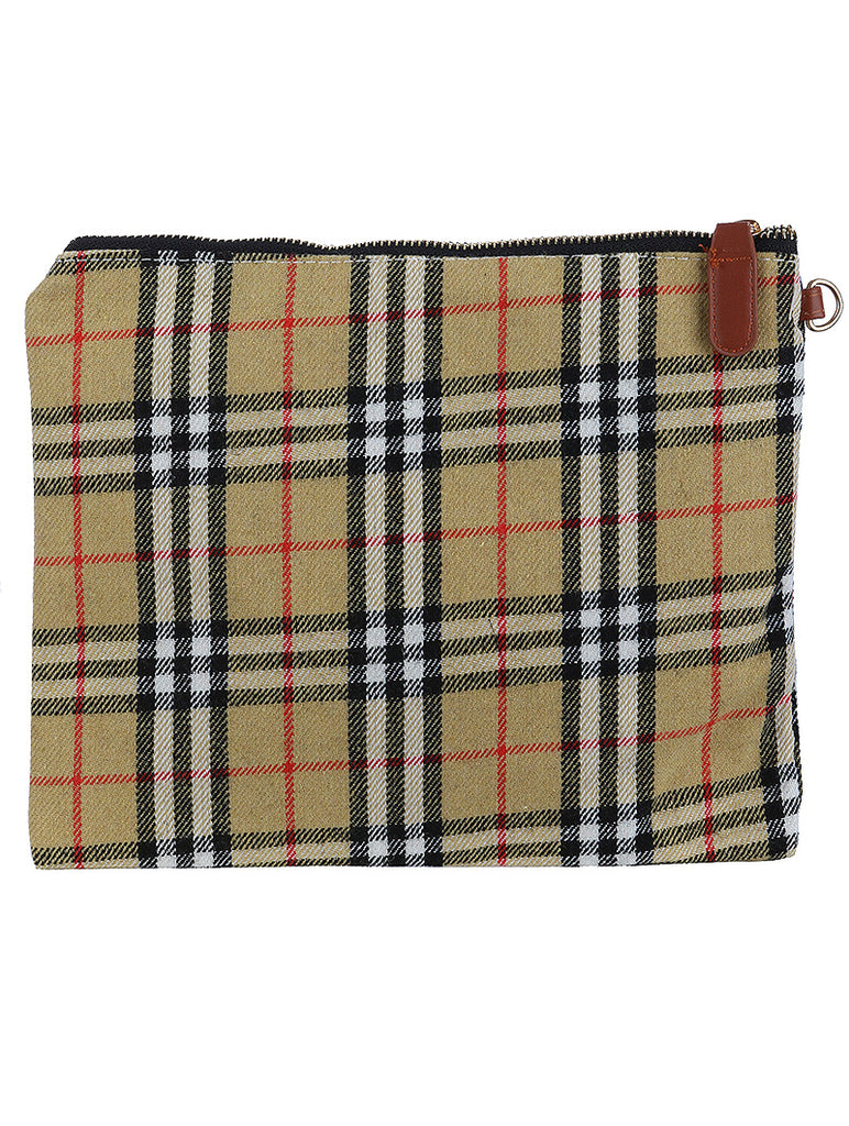 CHECKERED FABRIC CLUTCH MAKEUP POUCH