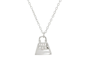 "Teen Sparkling Cz Purse Pendant Necklace in Sterling Silver, 16"" + 2"" - Presidential Brand (R)"