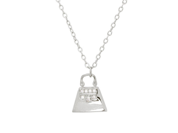 Teen Sparkling Cz Purse Pendant Necklace in Sterling Silver, 16