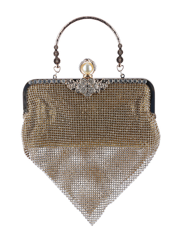 RHINESTONE DRAPED CLUTCH