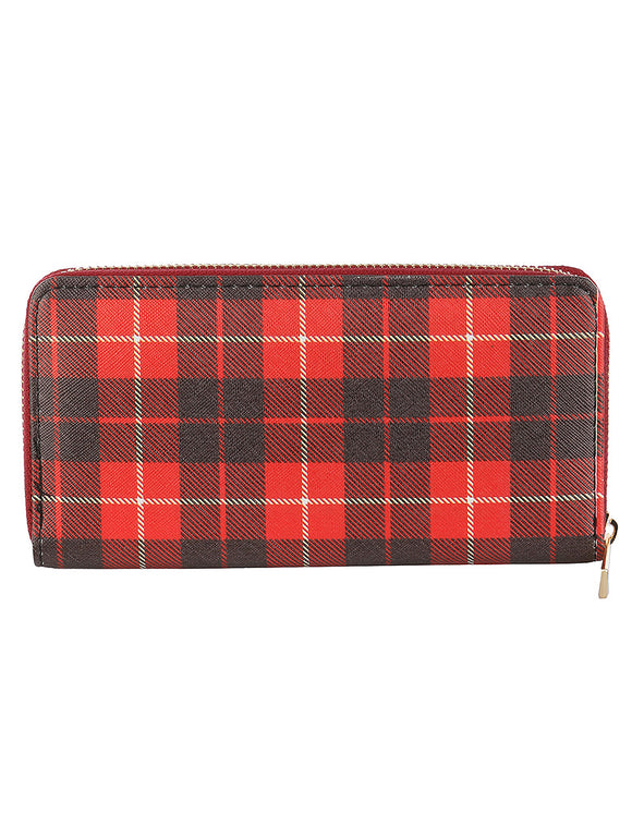 CHECKERED PRINT VINYL CLUTCH WALLET