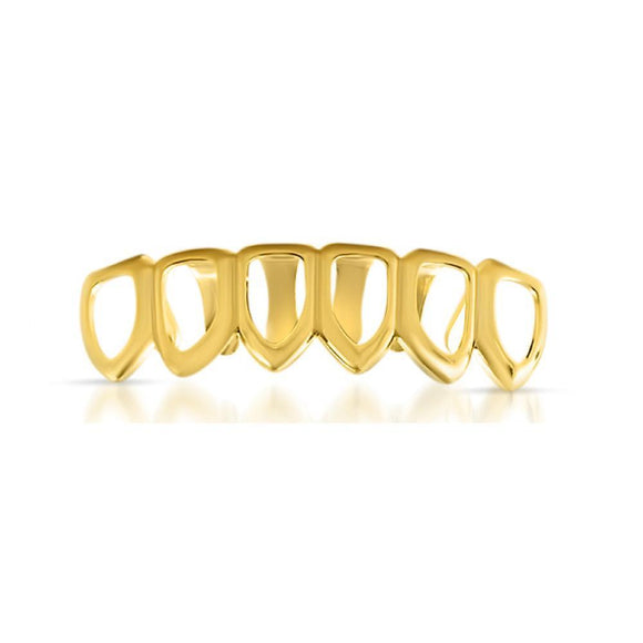 Gold Grillz with 6 Tooth Outline Bottom Teeth - Presidential Brand (R)