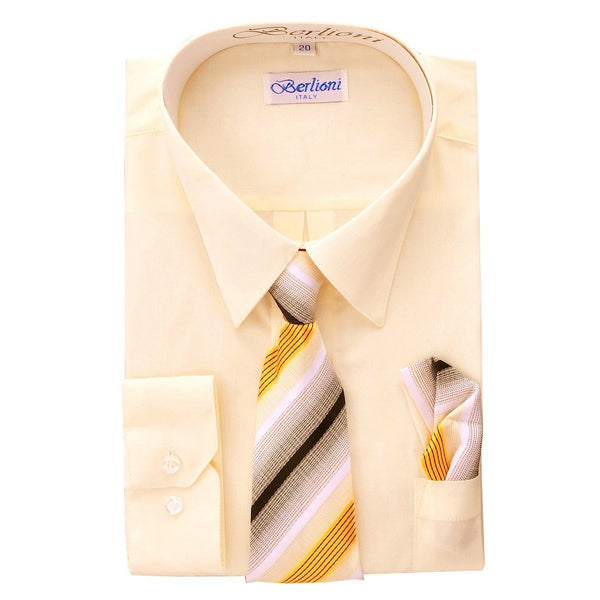 Boy's Dress Shirt/Necktie/Hanky N702-Off-White