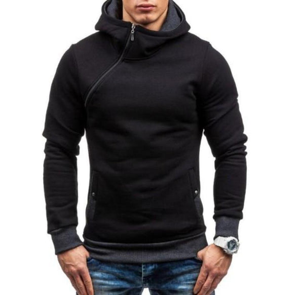 Mens Zipper Pullover Hoodie in Black