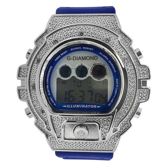 Digital Genuine .10ct Diamond Watch Blue Band - Presidential Brand (R)