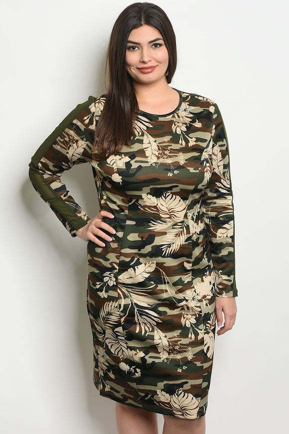 Women's Plus Size Olive Camouflage Long Sleeve Scoop Neck Camo And Floral Dress(6 pcs/ Bundle)