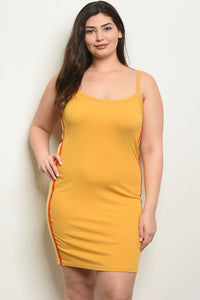 Women's Plus SIze Mustard Red Sleeveless Scoop Neck Bodycon Dress(6 pcs/ Bundle) - Presidential Brand (R)